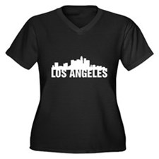 Los Angeles Women's Plus Size V-Neck Dark T-Shirt