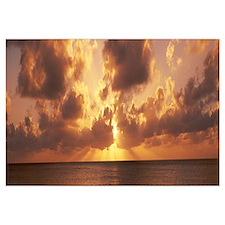 Sunset ovr Caribbean Sea fr 7 Mile Beach Cayman Is