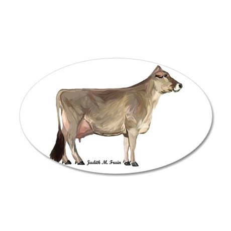 Brown Swiss Cow 38.5 x 24.5 Oval Wall Peel