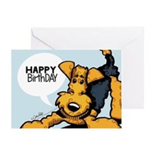 Airedale at Play Funny Birthday Greeting Card