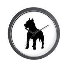 Pitbull Terrier Silhouette Wall Clock