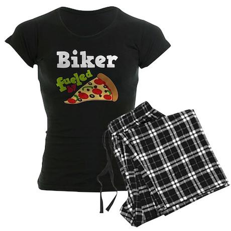 Biker Funny Pizza Women's Dark Pajamas