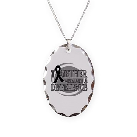 Skin Cancer Support Necklace Oval Charm