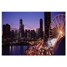 Lit up Ferris wheel at dusk, Navy Pier, Chicago, I
