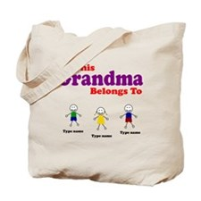 Personalized Grandma 3 kids Tote Bag
