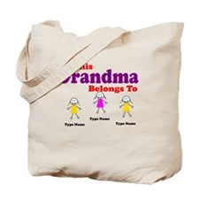 Personalized Grandma 3 girls Tote Bag