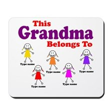 Personalized Grandma 5 girls Mousepad