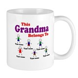 Personalized Grandma 6 kids Small Mug
