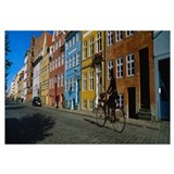 Woman riding a bicycle, Copenhagen, Denmark