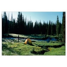 Dome tent near a river, Beartooth Mountains, Monta