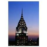 Building lit up at twilight, Chrysler Building, Ma