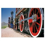 Train engine on a railroad track, Golden Spike Nat