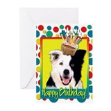 Birthday Cupcake - Border Collie Greeting Cards (P