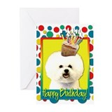 Birthday Cupcake - Bichon Greeting Cards (Pk of 20