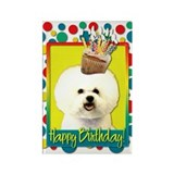 Birthday Cupcake - Bichon Rectangle Magnet (100 pa