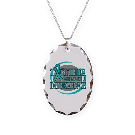 Ovarian Cancer Support Necklace Oval Charm