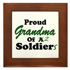 Proud Grandma 2 Soldiers Framed Tile
