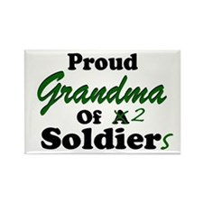 Proud Grandma 2 Soldiers Rectangle Magnet