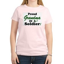 Proud Grandma 2 Soldiers Women's Pink T-Shirt