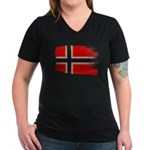 Norway Flag Women's V-Neck Dark T-Shirt