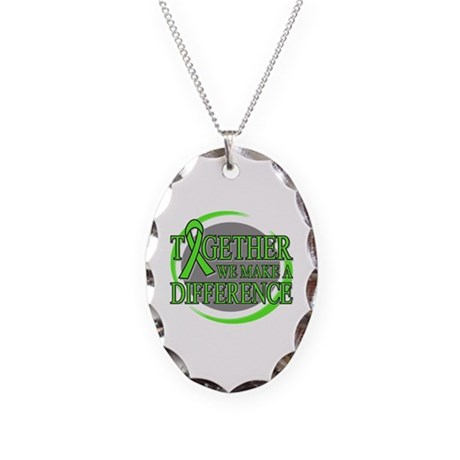 Non-Hodgkins Lymphoma Support Necklace Oval Charm