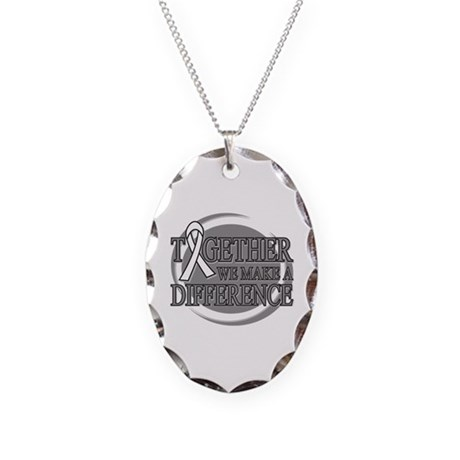 Lung Cancer Support Necklace Oval Charm