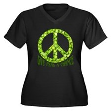 """Give Peas a Chance"" Women's Plus Size V-Neck Dark"