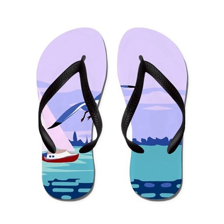 Sailboat Painting Flip Flops