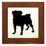 Pug Silhouette Framed Tile