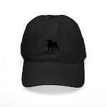 Pug Silhouette Black Cap