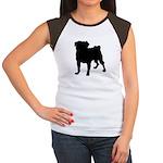 Pug Silhouette Women's Cap Sleeve T-Shirt