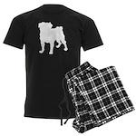 Pug Silhouette Men's Dark Pajamas