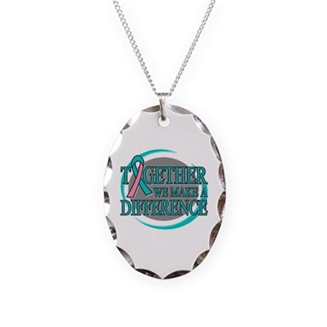 Hereditary Breast Cancer Support Necklace Oval Cha