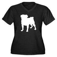 Pug Silhouette Women's Plus Size V-Neck Dark T-Shi