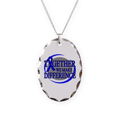 Colon Cancer Support Necklace Oval Charm