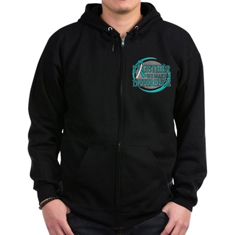 Cervical Cancer Support Zip Hoodie (dark)