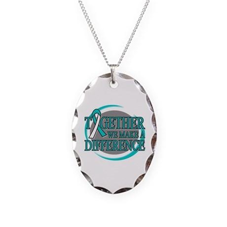 Cervical Cancer Support Necklace Oval Charm
