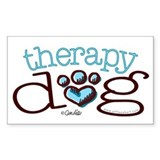 Therapy Dog Blue Paw Print Heart Decal