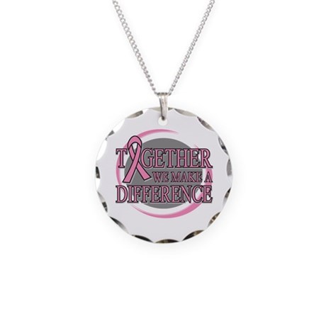Breast Cancer Support Necklace Circle Charm