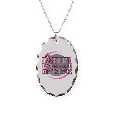 Breast Cancer Support Necklace Oval Charm