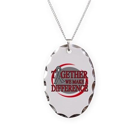 Brain Cancer Support Necklace Oval Charm