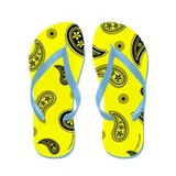 Yellow and Black Paisley Flip Flops