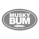 Musky Bum Oval Sticker Bumper Stickers
