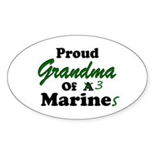 Proud Grandma 3 Marines Oval Decal