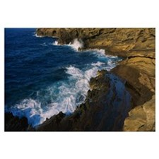 High angle view of a coastline, Molokai, Oahu, Haw