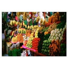 Assorted fruits and vegetables on a market stall,