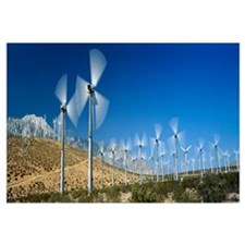 Wind turbines spinning in a field, Palm Springs, C