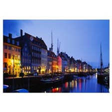 Buildings lit up at night, Nyhavn, Copenhagen, Den