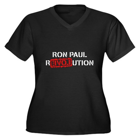 Ron Paul Revolution Womens Plus Size V-Neck Dark