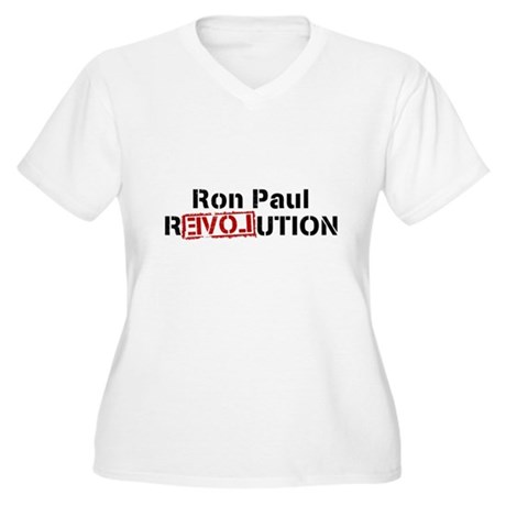 Ron Paul Revolution Womens Plus Size V-Neck T-Shi